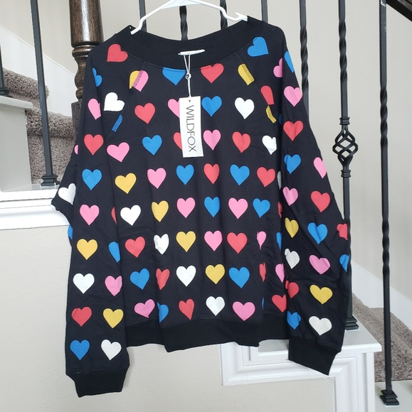 Wildfox Tops - Wildfox hearts sweatshirt L